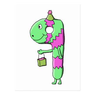 第9誕生日。 明るく、カラフルな漫画 ポストカード