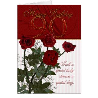 第90バラが付いているバースデー・カード グリーティングカード