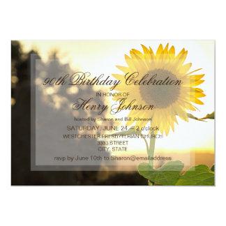 第90ヒマワリを特色にしている誕生日のパーティの招待状 カード