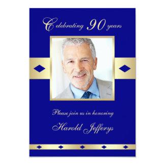第90写真の誕生日のパーティの招待状海軍90 カード