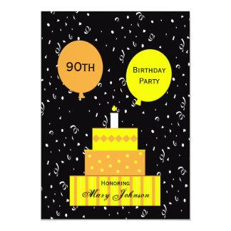 第90誕生日のパーティの招待状のおもしろい第90のケーキ カード