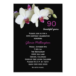 第90誕生日のパーティの招待状の蘭 カード