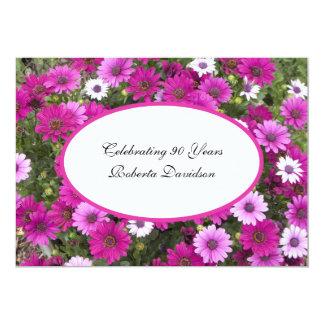 第90誕生日のパーティの招待状の豪華な花柄 カード