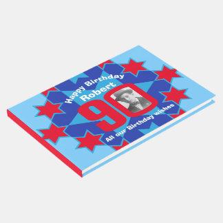 第90誕生日の写真の星の赤く青い来客名簿 ゲストブック