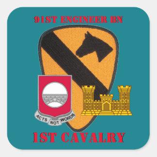 第91エンジニアの大隊の第1騎兵隊のステッカー スクエアシール