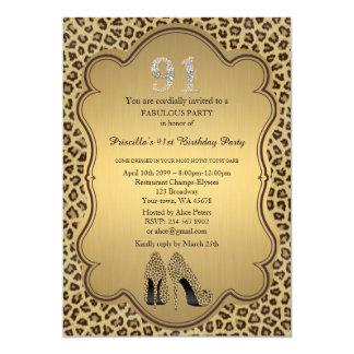 第91誕生日の招待、数ダイヤモンド、チータ カード