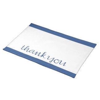 筆記体の青いランチョンマットありがとう ランチョンマット
