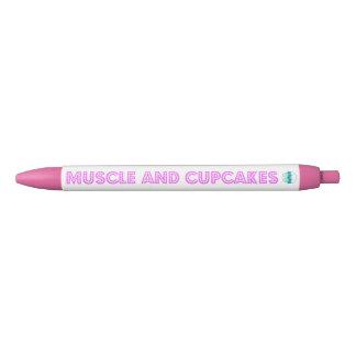 筋肉およびカップケーキのピンクのペン 黒ボールペン
