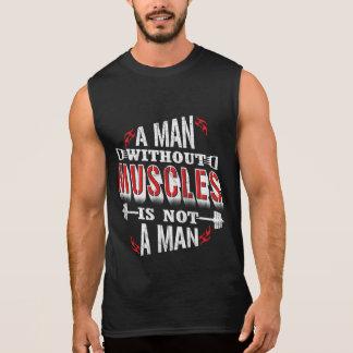 筋肉なしで人のおもしろいな体育館タンクはありません 袖なしシャツ