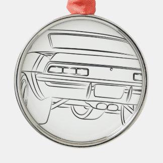 筋肉車のスケッチ メタルオーナメント