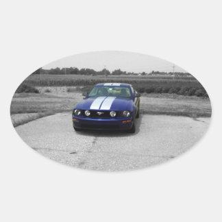 筋肉車の青のステッカー 楕円形シール