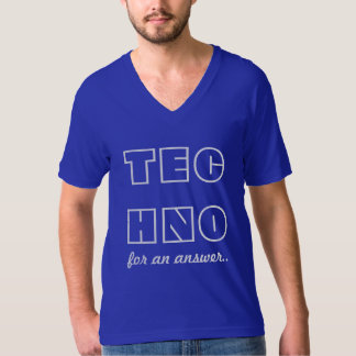答えのためのテクノ-メンズVNeckの青 Tシャツ