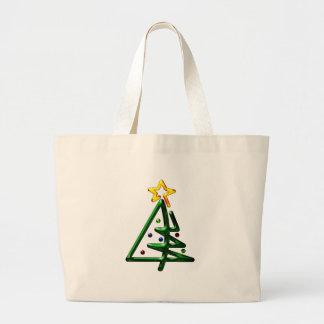 管状のクロムクリスマスツリー ラージトートバッグ