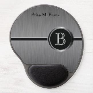 管理のモノグラムのデザイン|の黒いブラシの鋼鉄 ジェルマウスパッド