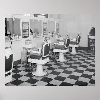 管理の理髪店1935年。 ヴィンテージの写真 ポスター