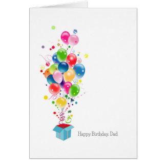 箱から破烈する父の誕生日カードの気球 カード