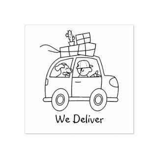 箱が付いている車を運転して私達は渡します ラバースタンプ