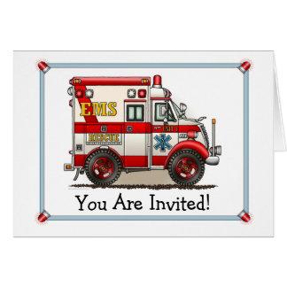 箱のトラックの救急車のパーティの招待状 カード