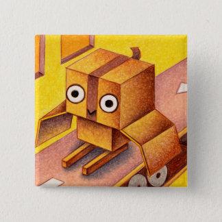 箱のフクロウ 5.1CM 正方形バッジ