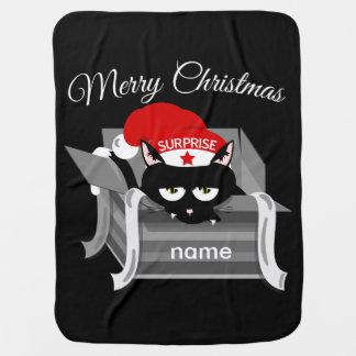 箱のメリークリスマスの猫 ベビー ブランケット