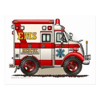 箱の救急車EMS EMTの緊急事態 ポストカード