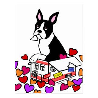 箱の漫画のボストンテリア ポストカード