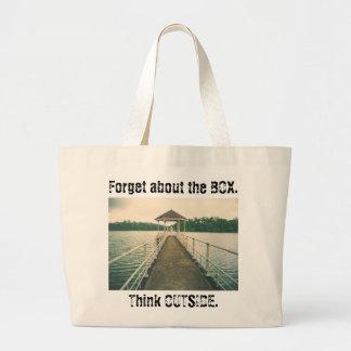 箱を外で考えます忘れて下さい。 波止場が付いているレトロ湖 ラージトートバッグ