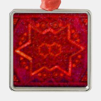 箱赤いモザイク メタルオーナメント