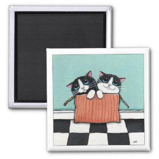箱|猫の芸術の磁石の2匹のタキシード猫 マグネット