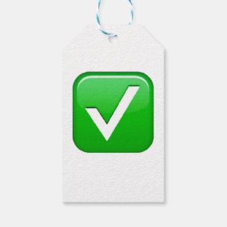 箱- Emojiの緑のチェックマーク ギフトタグ