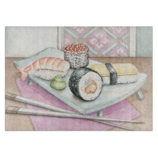箸が付いている分類された寿司のプレート カッティングボード