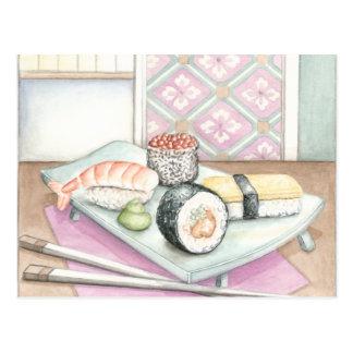 箸が付いている分類された寿司のプレート ポストカード