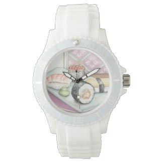 箸が付いている分類された寿司のプレート 腕時計
