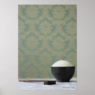 箸が付いている米のボール ポスター