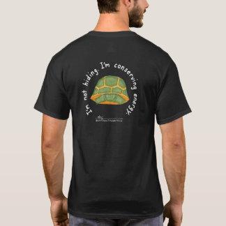節約エネルギー人の黒いT (デザインの背部) Tシャツ