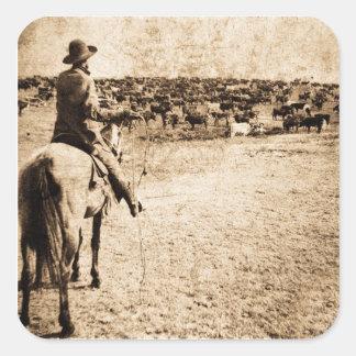 範囲のヴィンテージの単独カウボーイの牧場主の家 スクエアシール