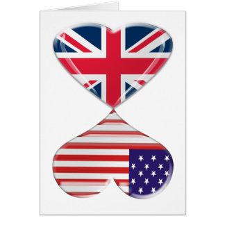 米国およびイギリスのハートの旗の芸術の接吻 カード