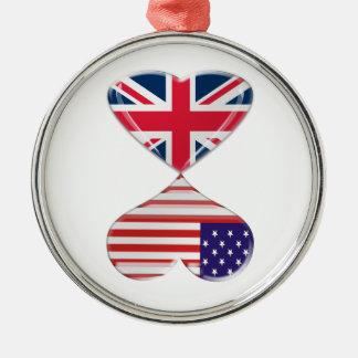 米国およびイギリスのハートの旗の芸術の接吻 メタルオーナメント