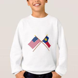 米国およびウェーク島の交差させた旗 スウェットシャツ