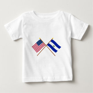 米国およびエルサルバドルによって交差させる旗 ベビーTシャツ