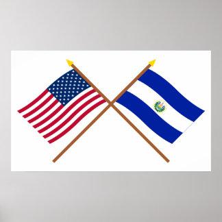 米国およびエルサルバドルによって交差させる旗 ポスター