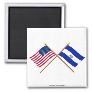 米国およびエルサルバドルによって交差させる旗 マグネット