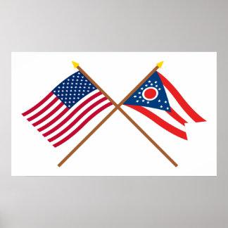 米国およびオハイオ州によって交差させる旗 ポスター
