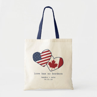 米国およびカナダのハートの旗の結婚 トートバッグ
