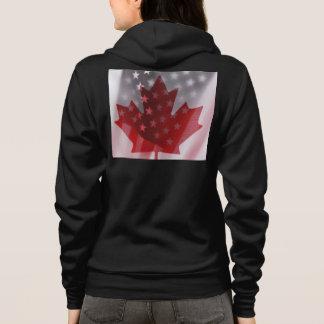 米国およびカナダの旗の女性のオウムのフード付きスウェットシャツ パーカ