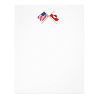 米国およびグリーンランドによって交差させる旗 レターヘッド