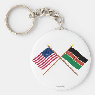 米国およびケニヤによって交差させる旗 キーホルダー