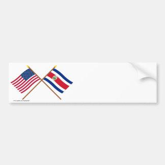 米国およびコスタリカによって交差させる旗 バンパーステッカー