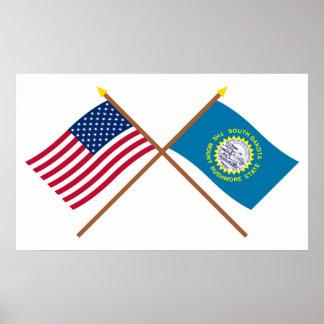 米国およびサウスダコタによって交差させる旗 ポスター