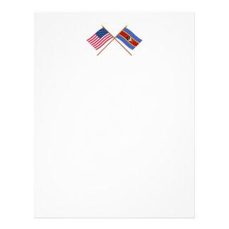 米国およびスワジランドによって交差させる旗 レターヘッド
